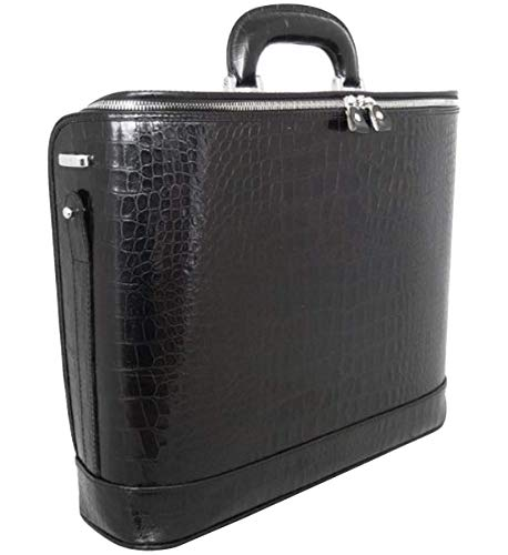 Pratesi Italian Leather Raffaello Italian Croco King Leather Laptop Briefcase, Black Crocodile