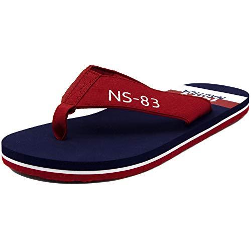 Nautica Men's Flip Flops Light Comfort Beach Sandal, Flat Thong Slides-Merion-Red-8