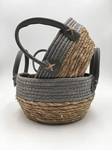ZKZNsmart Plant Basket with Handle, Woven Straw Basket for Flower, Pot Floor Indoor Plant, 8.6 x 7 x 6.5 Inch Desktop Storage Baskets for Country Home Decoration (Set of 2, Grey, Portable) (Straw Woven Basket)
