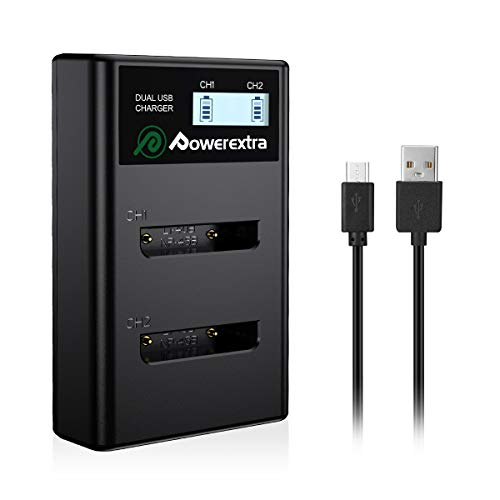 Powerextra NP-45A NP-45B NP-45S Dual USB Battery Charger with LCD Display Compatible with Fujifilm INSTAX Mini 90 FinePix XP20 XP22 XP30 XP50 XP60 XP80 XP90 XP120 XP130 T350 T360 T400 T510 T550 T560