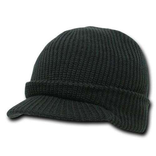 DECKY Black Visor Beanie Knit Jeep Cap Hat