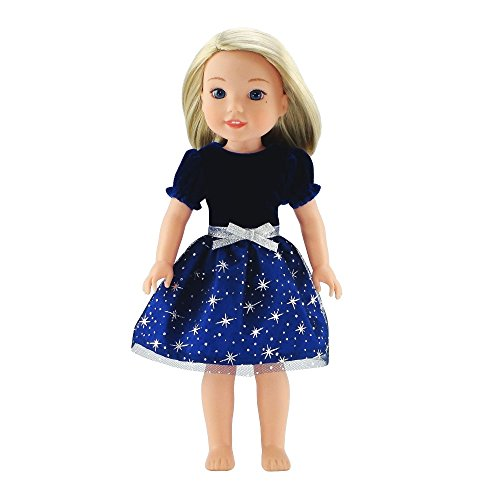 (Emily Rose 14 Inch Doll Clothes Clothing | Blue Velvet Party Dress Outfit with Silver Stars | Fits American Girl Wellie Wishers and Glitter Girls Dolls)