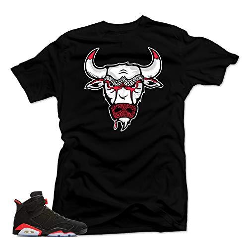 SNELOS Shirt to Match Jordan (Jordan Retro 6 Black Infrared Bull Shirt (Black), XL) (Shirt Michael Jordan Bulls)
