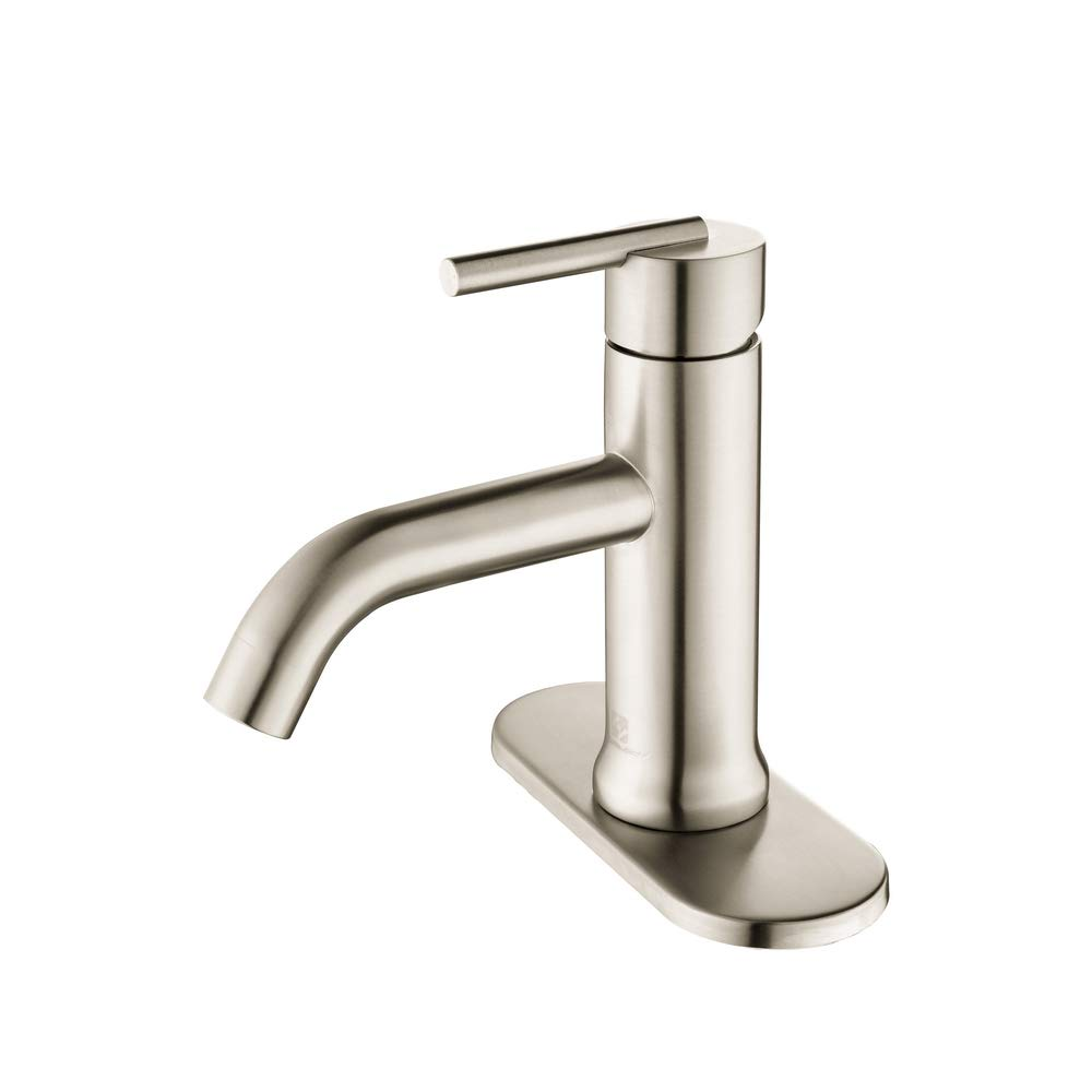 HOMELODY Bathroom Faucet Single Handle 1 Hole or 3 Hole Deck Mount 304 Stainless Steel Lavatory Faucet Brushed Nickel, 8037BN by HOMELODY