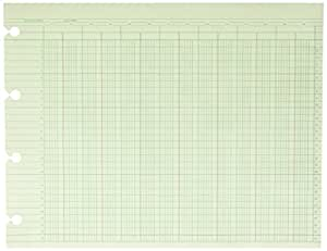 Wilson Jones Green Columnar Ruled Ledger Paper, Double Page Format, 24 Columns and 30 Lines per Page, 9.25 x 11.88 Inches, 100 Sheets per Pack (WG10-24A)