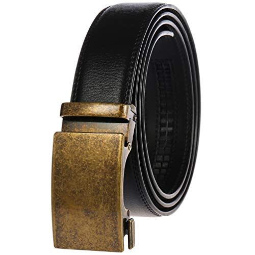 Filgate Men's Real Leather Ratchet Dress Belt with Automatic Buckle Black 30