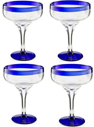 Mexican Hand Blown Margarita Glasses – Set of 4 Luxury Hand Blown Margarita Glasses (16 oz) by The Wine Savant