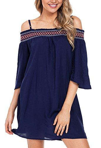 GOSOPIN Bohemian Off Shoulder Embroidered Neckline Strappy Beach Dress