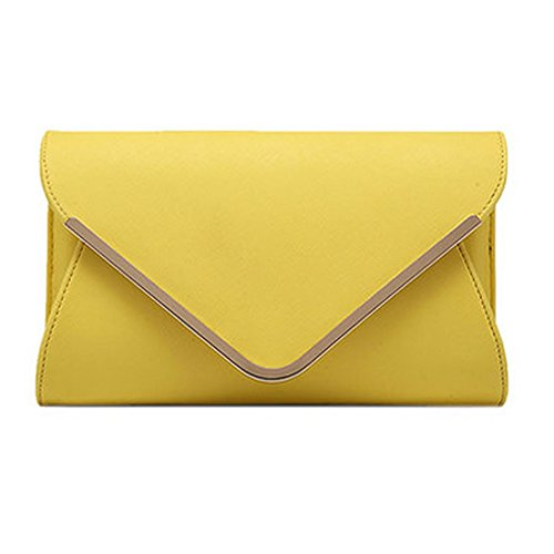 Clutch Yellow Handbag Ladies Womens Leather Envelope Shoulder Bag UNYU Evening Wedding Large Prom xPI7qnwCp