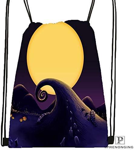 Drawstring Backpack Mesh Clear For Women black Back 31x40cm#180531-03-48 Men Custom The Nightmare Before Christmas Drawstring Backpack Mesh Clear For Women Men Bag Cute Daypack Kids Satchel
