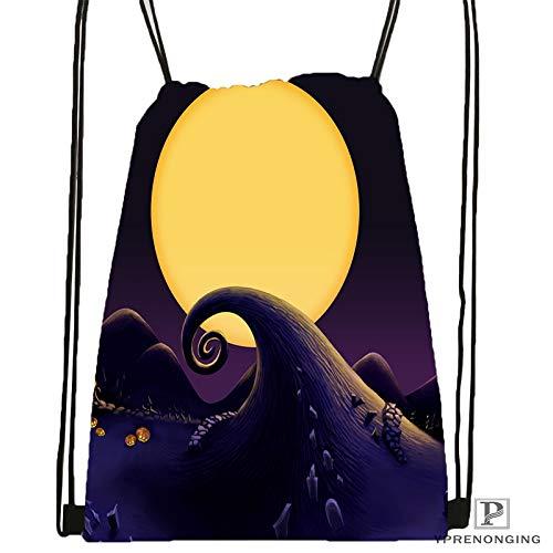 Men Custom The Nightmare Before Christmas Drawstring Backpack Mesh Clear For Women 31x40cm#180531-03-48 Drawstring Backpack Mesh Clear For Women Men Bag Cute Daypack Kids Satchel black Back