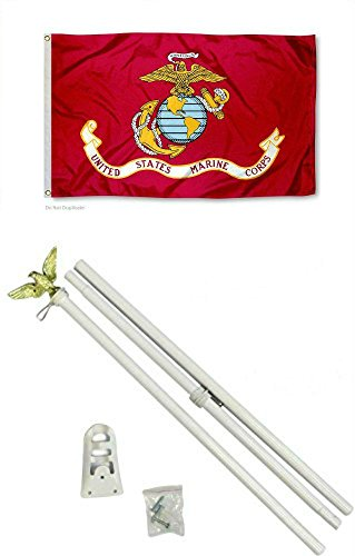 US Marine Corps Red EGA 3'x5' Polyester Flag with 6' White Flag Pole -