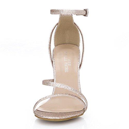Boda Zapatos EU35 4U® Tacones Básicas Glitter Plata Sandalias CM Oro de Hebilla para verano Cremallera mujer Bombas Best Altos 14 Golden de Una ByfUdawxUq
