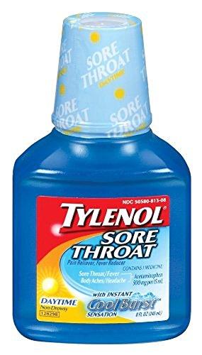 Dolor de garganta de Tylenol suspensión diurna 8 onzas (paquete de 4)