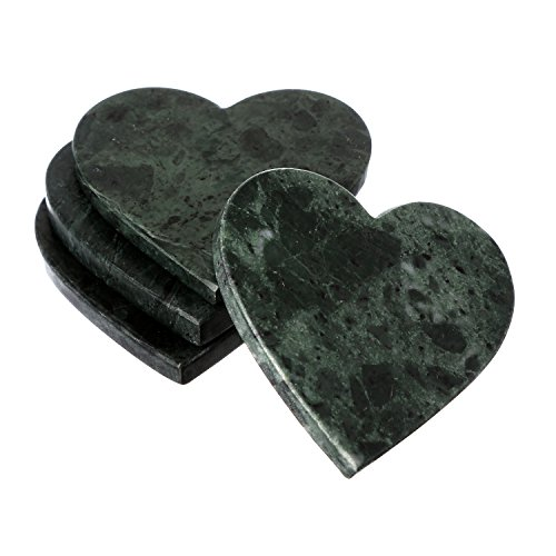 Shalinindia Handmade Love Heart Shape Marble Stone Tea Coasters Set of 4 for drink Size- 4X4X0.75 Inch Cocktail Coffee Dinning Table- Artisan Crafted In India (Jade (Natural Stone Cocktail Table)