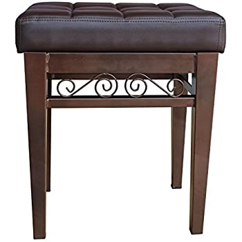 crownroyaljack Furniture Square Piano Bench Bathroom Vanity Bench Makeup Stool Chairs, Brown