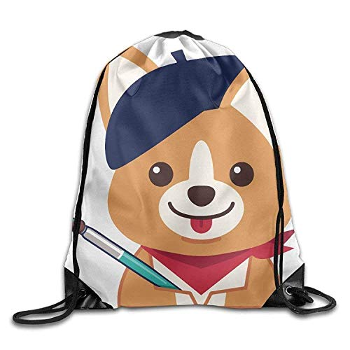 Print Backpack Gym Sport Drawstring Bag Bags Shoulder Bag Rucksack Artist Corgi 5qpwx6qS