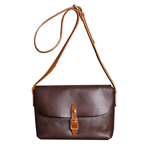 Genda 2Archer Women's Cowhide Genuine Leather Purse Small Crossbody Shoulder Bag (Coffee) by Genda 2Archer (Image #2)