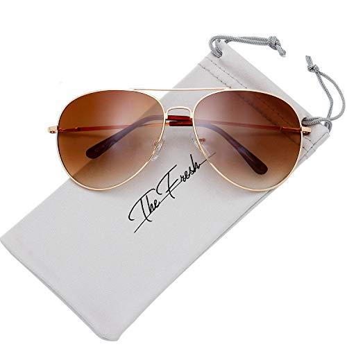 The Fresh Classic Aviator Frame Light Color Lens Spring Hinge XL Oversized Sunglasses Gift Box (7-Glod, Gradient ()