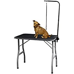 Grooming Table for Dogs - Tables Stand Pet Supplies Best for Small Medium Large Dog & Cat - Portable Restraint Holder w/Arm, Clamp & Hanging Noose Loop Adjustable Height Professional Groomer Station