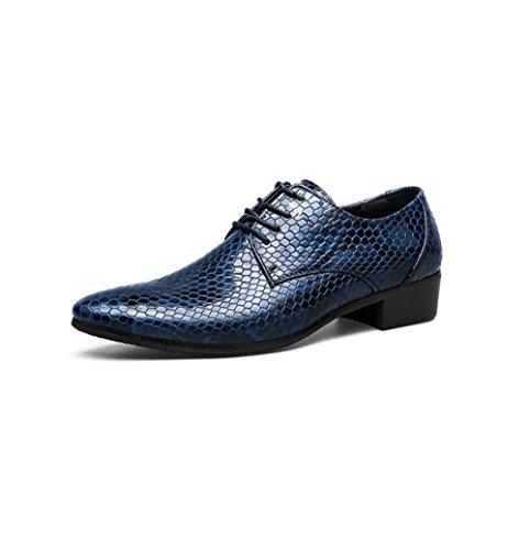 zmlsc Casual Hommes Chaussures en Cuir D'affaires Ronde Souple Point Point Ruban Saison Couleur Toile Sport Sandales Bottes Blue