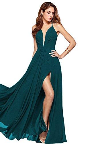 Beach Teal Chiffon Prom Neck BRL MALL Halter Gown Slit Long Evening Wedding Party Dresses BPM25 Women's V wI0qPaxXTq