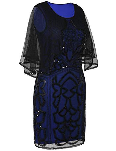 Cóctel Mangas Vestido Negro Mujer Azul Prettyguide Para Sin dqtwWY5