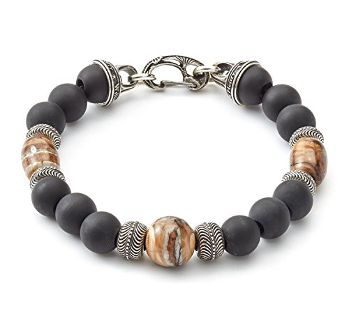 William-Henry-Mens-85-Inch-SilverBlack-Onyx-Beaded-Bracelet-with-Light-Fos