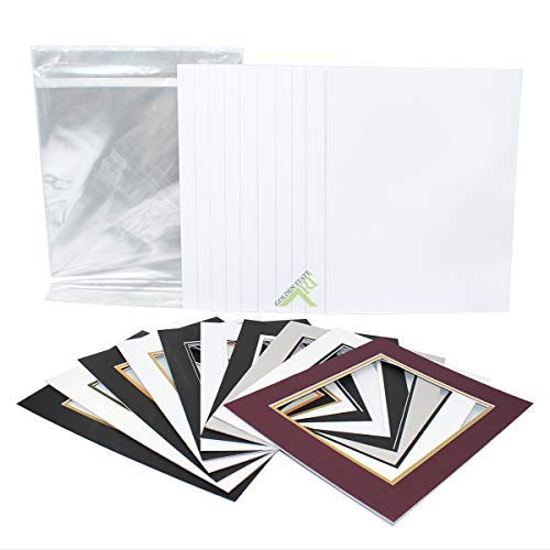 Golden State Art, Pack of 10 11x14 Double Picture Mats with White Core Bevel Cut for 8x10 Pictures + Backing + Bags, Mix Color Double Pre Cut Mat