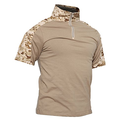 TACVASEN Mens Tactical Digital Camo Tactical Assault Short Sleeve T-Shirt Tops Desert,US L/Tag 2XL