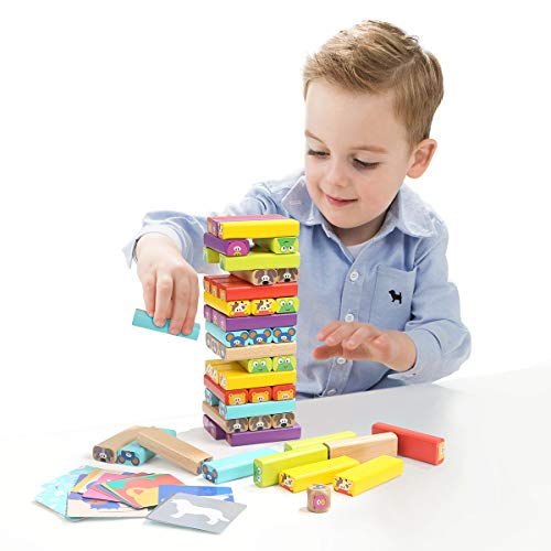 TOP BRIGHT Wooden Stacking Blocks STEM Toys with Card & Dice Party Game for 4 Year Olds Kids Boys Girls Gifts