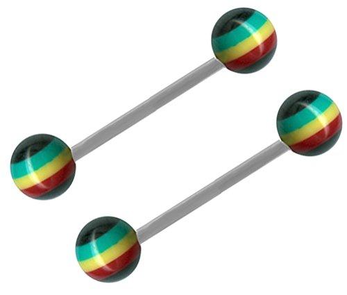 Pair of Rasta Earrings Tongue Ring-Steel Straight Barbell-14 gauge-5/8-16mm