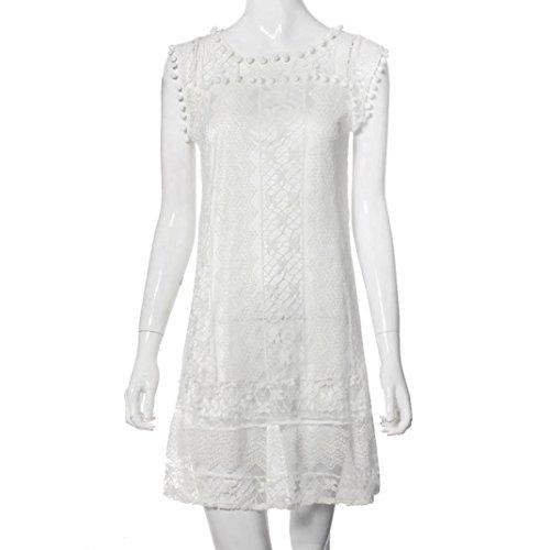 WEUIE Women Casual Tank T Shirt Dress Lace Sleeveless Beach Short Dress Beachwear Tassel Mini Dress White by WEUIE (Image #4)