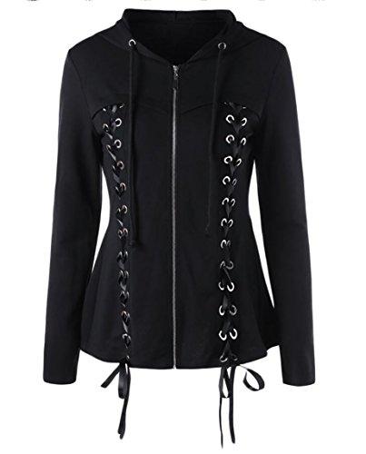Zip Hooded Cardigan Full (ONTBYB Womens Slim Lace Up Bandage Full-Zip Long Sleeve Hoodies Sweatshirts Cardigan Coat Black S)