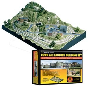 - Woodland Scenics N Scale Town and Factory Building Set