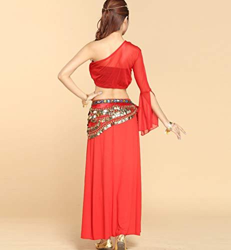 Longue de Danse Une Ventre paule Couleur Fente TianBin Rouge Unie Tops Irrgulier du Costume 2 Femme Haute Jupe ASqwvREx