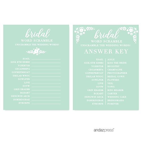 (Andaz Press Floral Mint Green Wedding Collection, Wedding Word Scramble Bridal Shower Game Cards, 20-Pack)