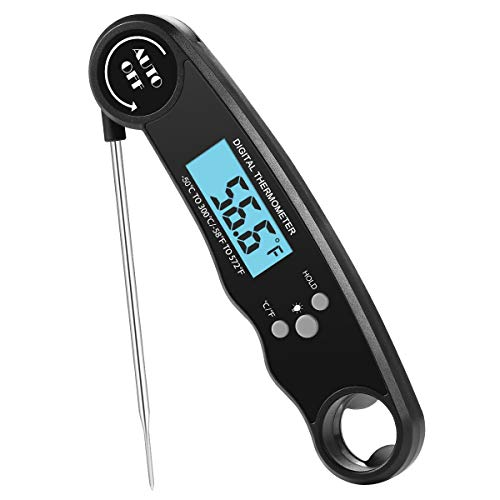Priksia Digital Meat Waterproof Instant Read Cooking Thermometer with Backlight Calibration Bottle Opener For Smoker Grilling Oven hen Food Candy BBQ Grill Cooking Smoke Deep Fry. ()