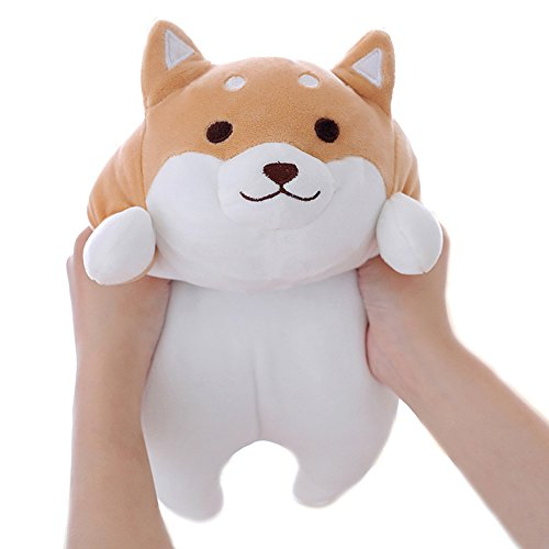 (Levenkeness Shiba Inu Dog Plush Pillow, Cute Corgi Akita Stuffed Animals Doll Toy Gifts for Valentine's Gift, Christmas,Sofa Chair, Brown Round Eye, 15