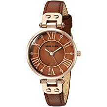 Anne Klein Women's Quartz Metal and Leather Dress Watch, Color:Brown