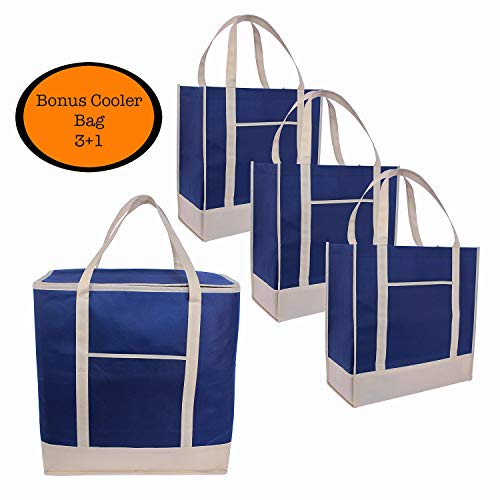 Reusable Grocery Bags Tote heavy duty plus cooler| Set of 3+1 | Insulated| Produce |Holder| Shopping Bags|Thermal|Food Delivery|Long Reinforced Handles | Pockets |Pouch|Foldable|Eco|Green