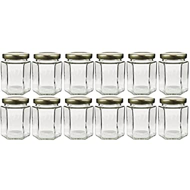 6oz Large Hexagon Glass Jars 12 Pack, 6oz Hex Jars Bulk Value Pack of 12