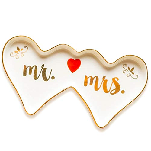 Vila Mr. & Mrs. Ring Dish - Porcelain Jewelry Holder - Twin Hearts Shaped with Raised Edges for Weddings, Anniversary, Valentine's Day, Bridal Showers, Bachelorette Parties