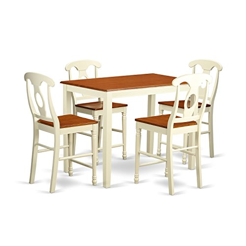 East West Furniture YAKE5-WHI-W 5 Piece Pub Table and 4 Kitchen Bar Stool Set