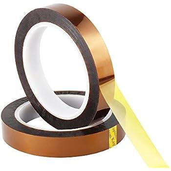 Retermit 2 Rolls 10mm X100ft Kapton Tape Sublimation Tape - for Heat Transfer Vinyl,3D Printers High Temperature Tape PCB Tape Heat Resistant Tape Heat Tape