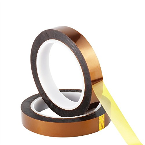 (Retermit 2 Rolls 10mm X100ft Kapton Tape Sublimation Tape - for Heat Transfer Vinyl,3D Printers High Temperature Tape PCB Tape Heat Resistant Tape Heat Tape)