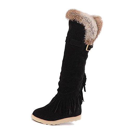 Damen Nonbrand synthetischer Kniehohe Schwarz Stiefel Keilabsatz dw04qwC