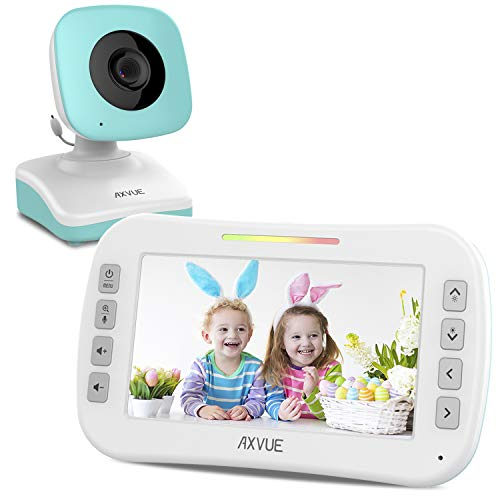 Video Baby Monitor with 4.3 Screen and Night Vision by Axvue, Blue, Model E9620-B