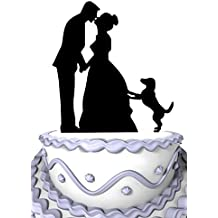 Meijiafei Bride and Groom Kissing with Dog Silhouette Wedding Cake Topper