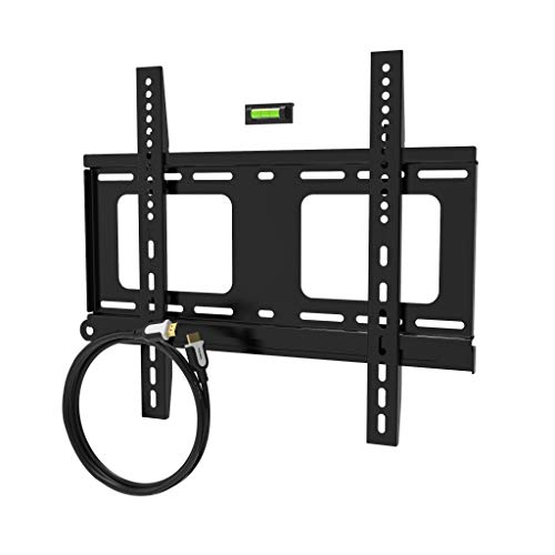 Promounts Apex Medium Flat TV Wall Mount Bracket for 30 to 60 inch with 12 Ft. HDMI & Bubble Level (Wall Tv Mount Apex)